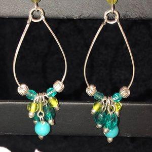 Jewelry - Silver Earrings w/Turquoise, Blue/Green Beads
